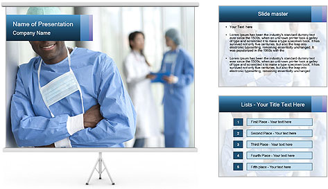 Portrait of a male surgeon, colleagues PowerPoint Template