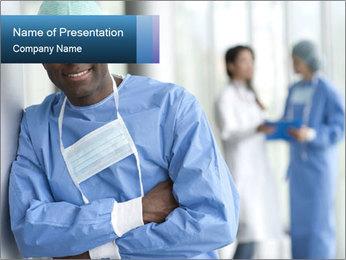 Portrait of a male surgeon, colleagues PowerPoint Templates - Slide 1