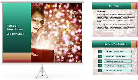 Christmas or New Year Gift. Surprised Woman PowerPoint Template