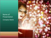 Christmas or New Year Gift. Surprised Woman PowerPoint Templates