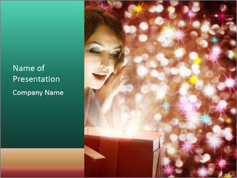 Christmas or New Year Gift. Surprised Woman PowerPoint Template - Slide 1