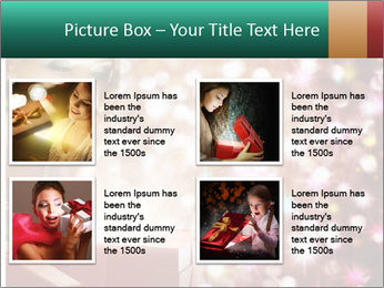 Christmas or New Year Gift. Surprised Woman PowerPoint Template - Slide 14