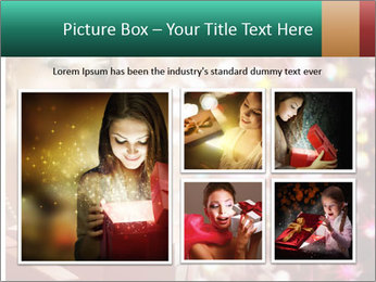 Christmas or New Year Gift. Surprised Woman PowerPoint Template - Slide 19