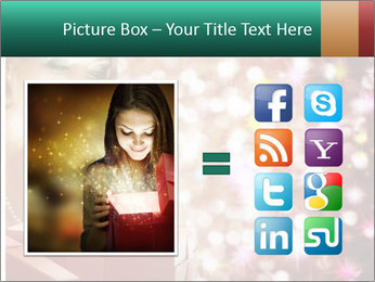 Christmas or New Year Gift. Surprised Woman PowerPoint Template - Slide 21