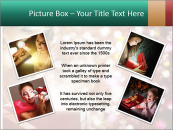 Christmas or New Year Gift. Surprised Woman PowerPoint Template - Slide 24