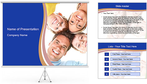 Happy family. Father, mother and children. PowerPoint Template