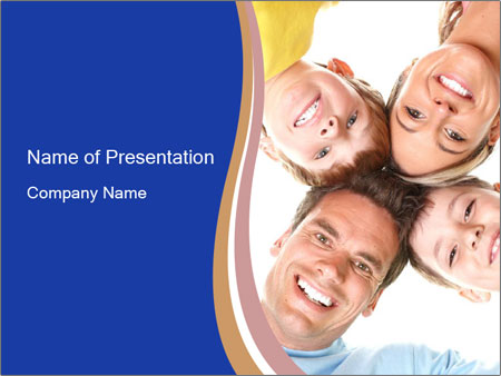 Happy family. Father, mother and children. PowerPoint Templates