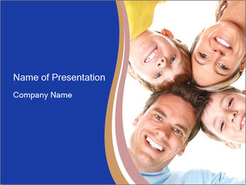 Happy family. Father, mother and children. PowerPoint Template - Slide 1