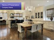 Kitchen in luxury home with white cabinetry PowerPoint Templates