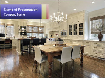 Kitchen in luxury home with white cabinetry PowerPoint Template - Slide 1