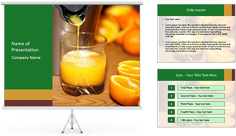 Making orange juice from sliced oranges PowerPoint Template
