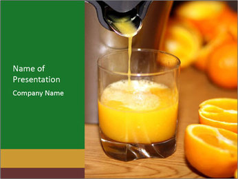 Making orange juice from sliced oranges PowerPoint Templates - Slide 1