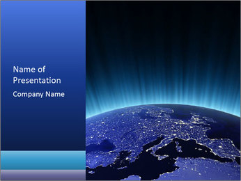 Europe at night. Maps from NASA PowerPoint Templates - Slide 1