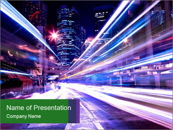 Modern city at night PowerPoint Template - Slide 1