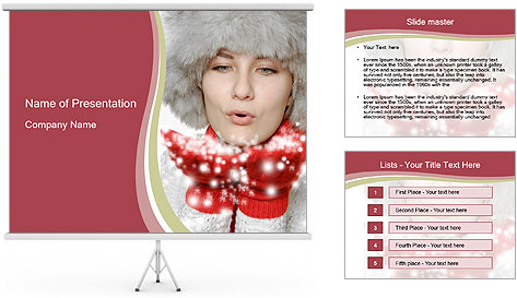 Teenage girl in red gloves and fur hat blowing snow PowerPoint Template