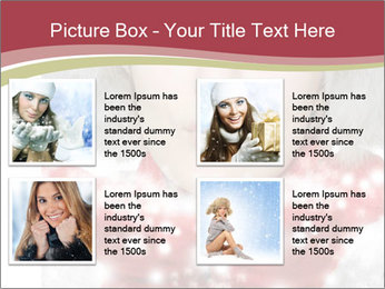 Teenage girl in red gloves and fur hat blowing snow PowerPoint Templates - Slide 14