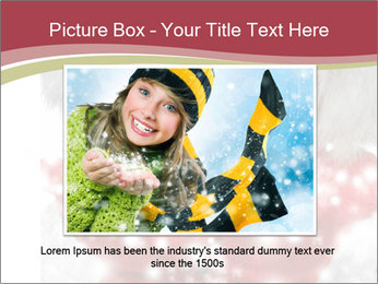 Teenage girl in red gloves and fur hat blowing snow PowerPoint Templates - Slide 15