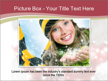 Teenage girl in red gloves and fur hat blowing snow PowerPoint Templates - Slide 16