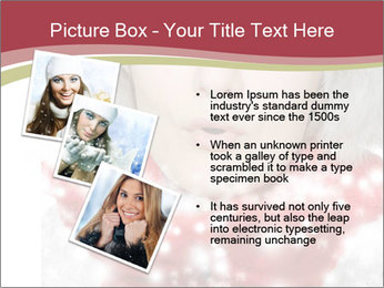 Teenage girl in red gloves and fur hat blowing snow PowerPoint Templates - Slide 17