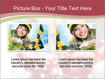 Teenage girl in red gloves and fur hat blowing snow PowerPoint Templates - Slide 18