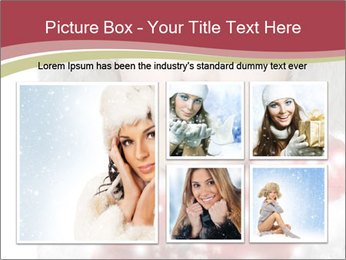 Teenage girl in red gloves and fur hat blowing snow PowerPoint Templates - Slide 19