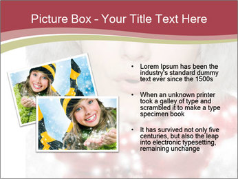 Teenage girl in red gloves and fur hat blowing snow PowerPoint Templates - Slide 20