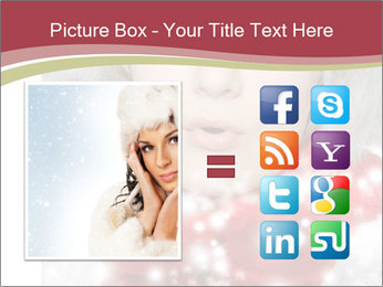 Teenage girl in red gloves and fur hat blowing snow PowerPoint Templates - Slide 21