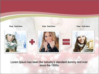 Teenage girl in red gloves and fur hat blowing snow PowerPoint Templates - Slide 22