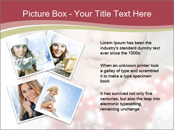 Teenage girl in red gloves and fur hat blowing snow PowerPoint Templates - Slide 23