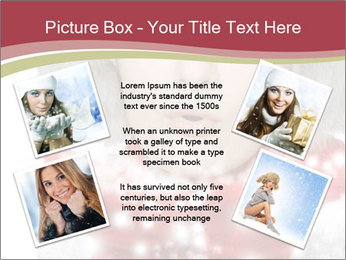 Teenage girl in red gloves and fur hat blowing snow PowerPoint Templates - Slide 24