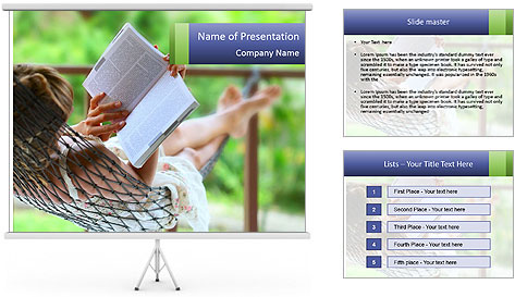 Young woman reading a book lying in hammock PowerPoint Template