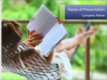 Young woman reading a book lying in hammock PowerPoint Templates - Slide 1