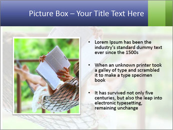 Young woman reading a book lying in hammock PowerPoint Templates - Slide 13