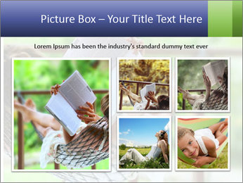 Young woman reading a book lying in hammock PowerPoint Templates - Slide 19