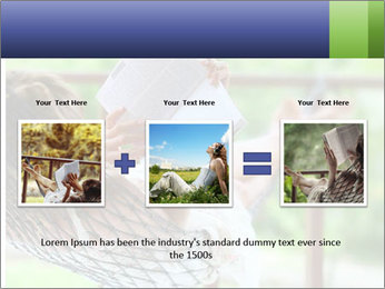 Young woman reading a book lying in hammock PowerPoint Templates - Slide 22