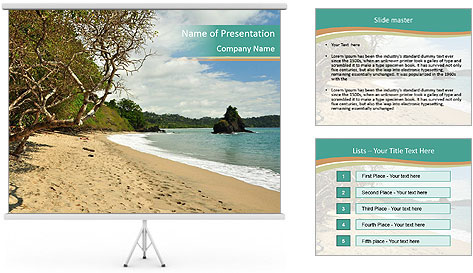 Tropical beach in Costa Rica PowerPoint Template