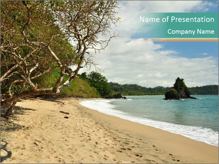 Tropical beach in Costa Rica PowerPoint Templates