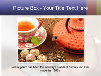 Woman with silver ring pouring tea with milk into cup PowerPoint Templates - Slide 15