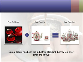 Woman with silver ring pouring tea with milk into cup PowerPoint Templates - Slide 22
