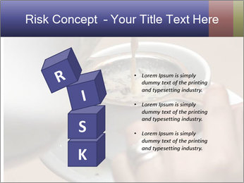 Woman with silver ring pouring tea with milk into cup PowerPoint Template - Slide 81