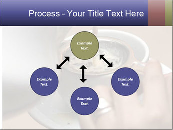 Woman with silver ring pouring tea with milk into cup PowerPoint Templates - Slide 91
