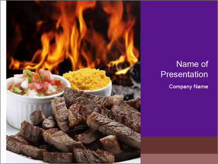 Dish of beef on fire background PowerPoint Templates
