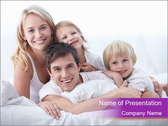 A young family with young children to bed in the bedroom PowerPoint Template - Slide 1
