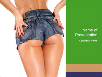 Sexy woman body in jean shorts PowerPoint Template