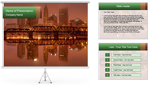 Red Sunset Scene PowerPoint Template