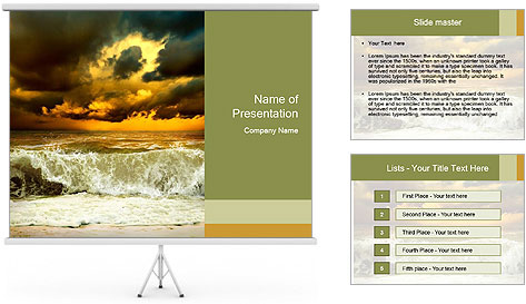 View of storm seascape PowerPoint Template