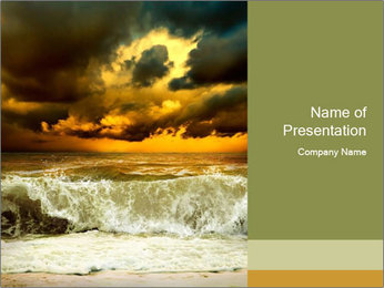 View of storm seascape PowerPoint Template - Slide 1