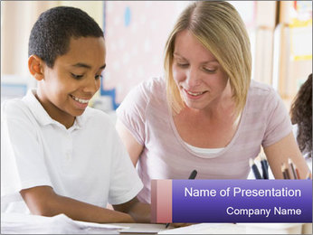 Student in class PowerPoint Template