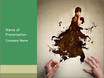 Hands painting a beautiful woman PowerPoint Template