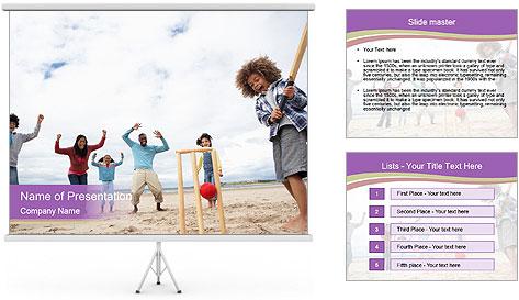Cricket on beach PowerPoint Template